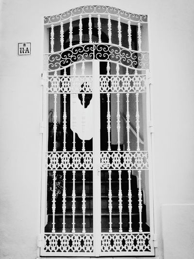Window Close-up Curtain Day Full Frame Man Made Object White Black And White Wrought Iron Architecture Architectural Feature