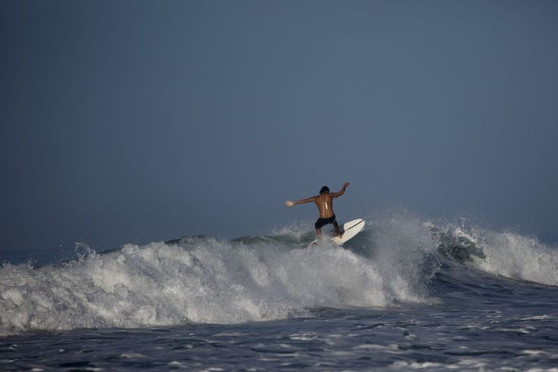 Motion Water Sea Sport Surfing Aquatic Sport Wave One Person Splashing Nature Skill  Copy Space Full Length Leisure Activity Extreme Sports Surfboard Healthy Lifestyle Adventure Outdoors Power In Nature
