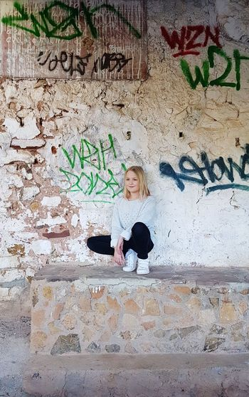 One day out Girl Child Blonde Girl Day Out Outdoors Outdoor Photography Portrait Childhood Smiling Close-up Graffiti Street Art Written Mural Art Wall - Building Feature Wall Painted Vandalism Springtime Decadence The Street Photographer - 2019 EyeEm Awards