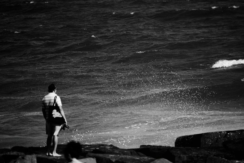 In Front Of The Ocean One Person Outdoors Eyeem Gallary Popular Black And White Collection  EyeEm Best Shots EyeEm Gallery Visually Inspired Photography Check This Out Beach Photography Ocean Spray Beach Rock Standing Popular Photos Light And Shadow Black And White Tranquility Scene The Week On EyeEm Done That. EyeEm Ready   Love Yourself Press For Progress Summer Exploratorium #FREIHEITBERLIN