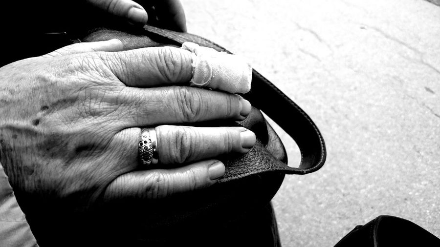 Bag Blach&white Black & White Blackandwhite Close-up Emotions EyeEm Gallery Gold Hand Hands Holding Human Finger Lifestyles Love Mother Old Part Of Person Personal Perspective Ring Rings Unrecognizable Person Women Women Of EyeEm Women Style