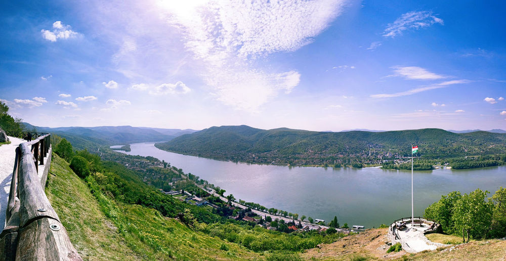 Scenic view of danube river at visegrad against sky
