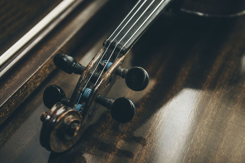 High angle view of violin on table