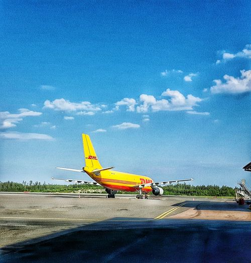 Airport Dhl Comercial Airline Freight Transportation Aircraft Plane Clouds And Sky Showcase May Samsungphotography Sky Hobbyphotography Outside Photography Outdoor Photography Sweden Photography The Sky Has No Limit... Check This Out Sky And Clouds Taking Photos