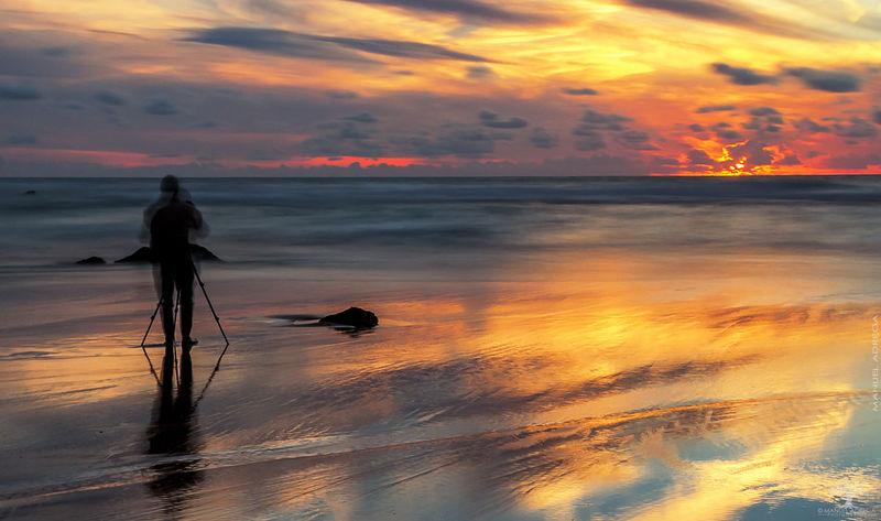 Ursa Beach Sintra Sintra (Portugal) Sunset Sun Dramatic Sky Reflection Sky Sand One Person Silhouette Sea Beach Landscape Outdoors Cloud - Sky Water Horizon Beauty In Nature Nature First Eyeem Photo The Week On EyeEm