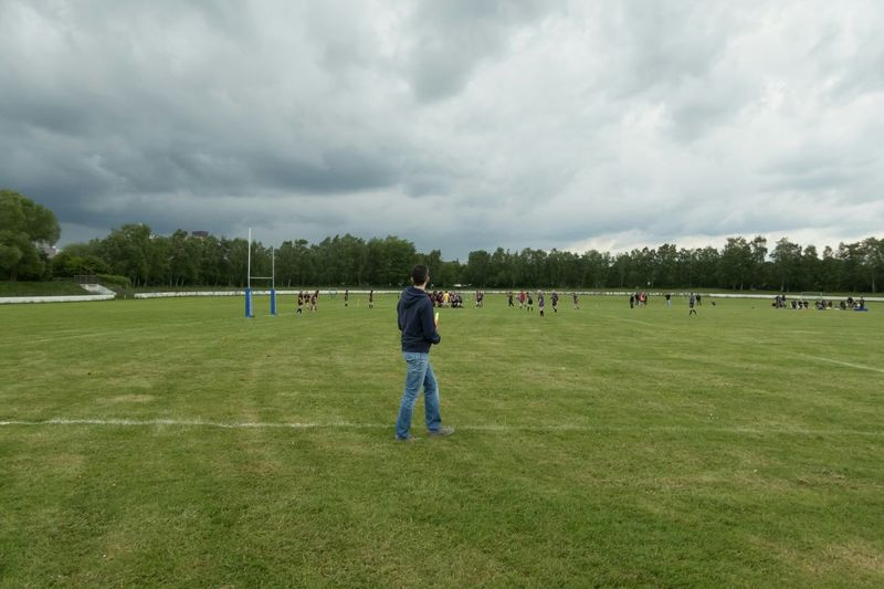 Rugby match in Bielefeld Germany Sky Sky And Clouds City Sport People Watching Walking Around
