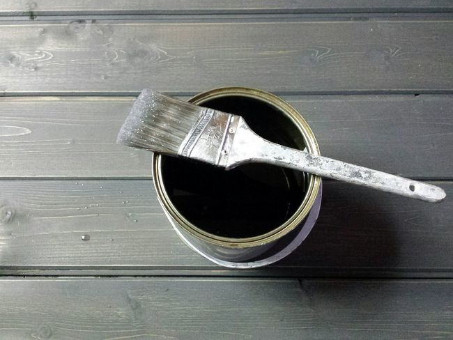 Showing Imperfection Varnish Shiny Tin Can Colour Texture Textured  Textures And Surfaces Grain Paint Work Ongoing Bathroom Process Project Slats Interior Views Interior Wood Decorating DIY Painted Grey Brush Process