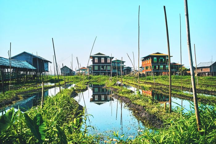 Built Structure Architecture Building Exterior Water Day Stilt House Outdoors No People Clear Sky Plant Nature Nautical Vessel Inle Lake Myanmar The Great Outdoors - 2017 EyeEm Awards
