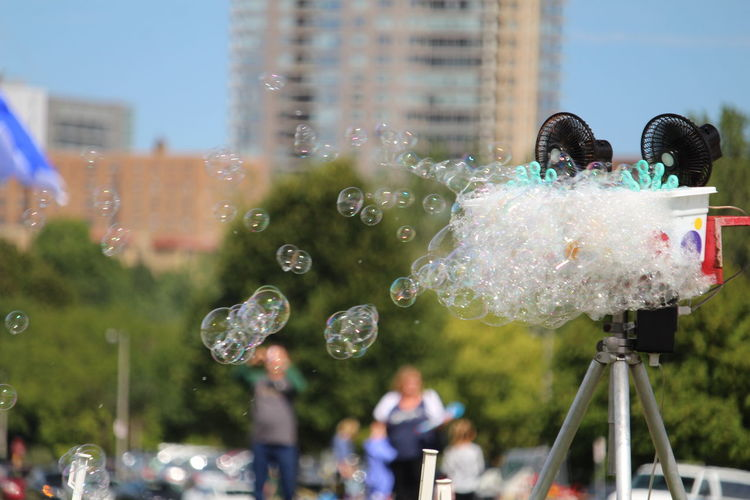 View of bubbles against blurred background