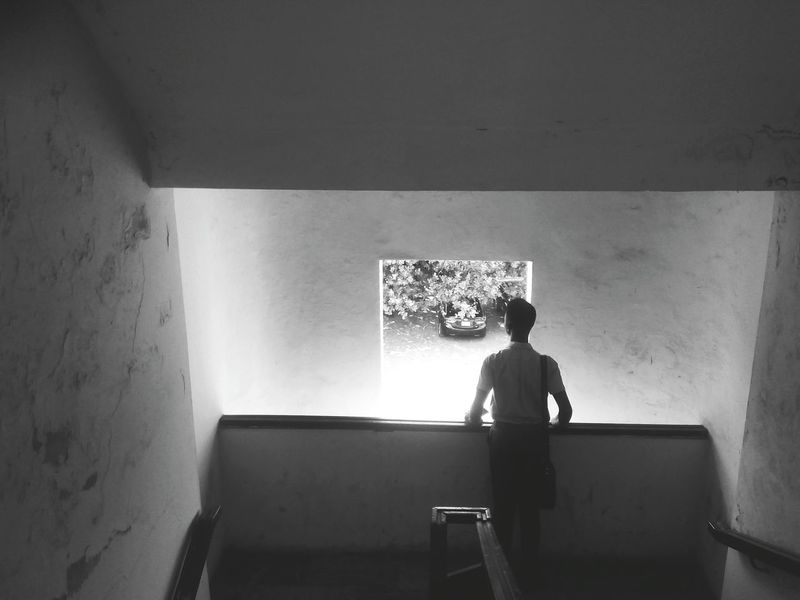 Searching for Hope. Ruleofthirds Blackandwhite Black And White Boy Window Light