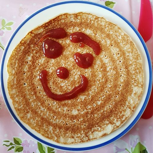 Happy pancake ☺ Food High Angle View Plate Ready-to-eat Indoors  Table No People Serving Size Close-up Day Pancakebreakfast Happyface Strawberry Jam Childsplay Foodplay Pancake