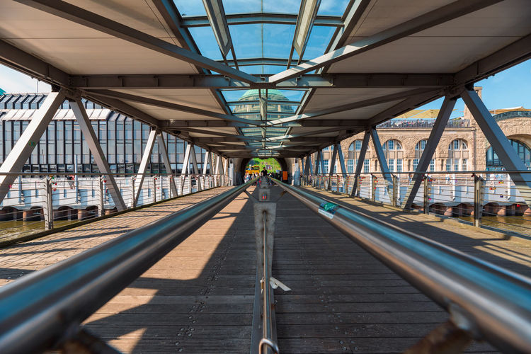 Railroad tracks on footbridge