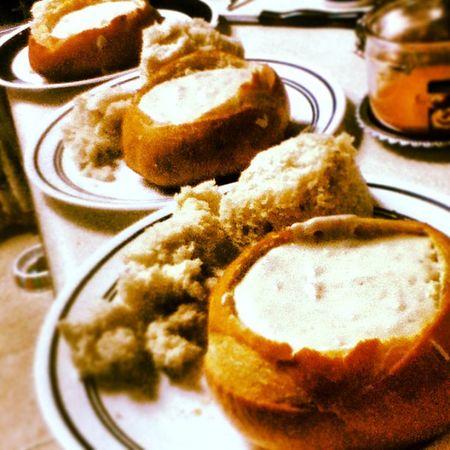 Homemade Clamchowder in Sourdough Breadbowl for myself, @by_the_sie & @bexsbx nomnomnom foodporn foodcreation bombdotcom