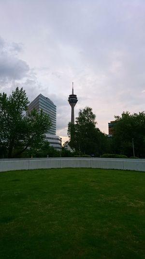 Rheinturm radio tower. · Düsseldorf Germany Rheinturm  Radio Tower Fernsehturm Architecture Urban Landscape Cityscape Clouds And Sky Green