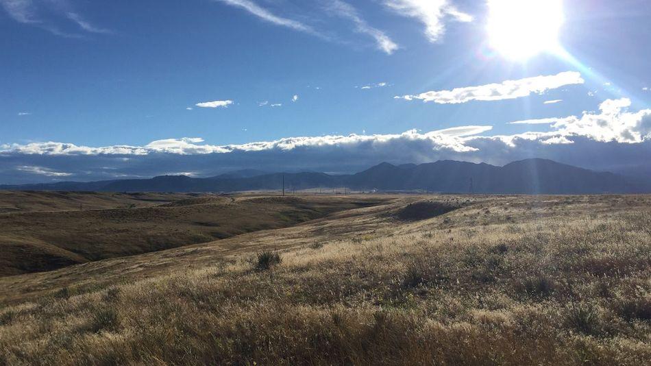 Colorado foothills sun Landscape Mountain Range Grass Sky
