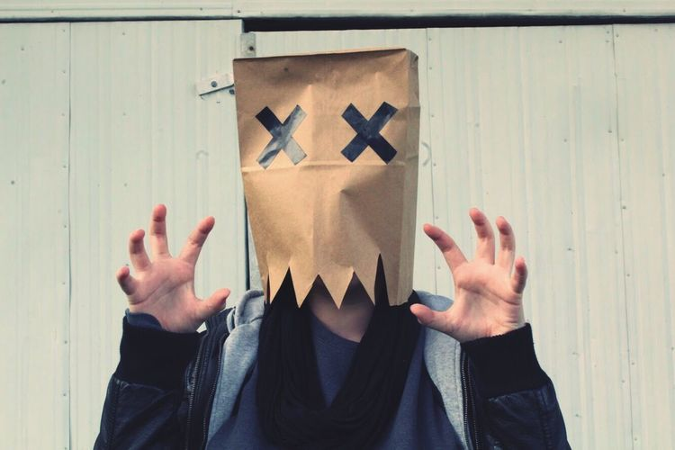 """EyeEm Selects Human Hand One Person Real People Human Body Part Lifestyles Outdoors Day People Adult Paperbag Monster — """"The Bag Monster"""""""