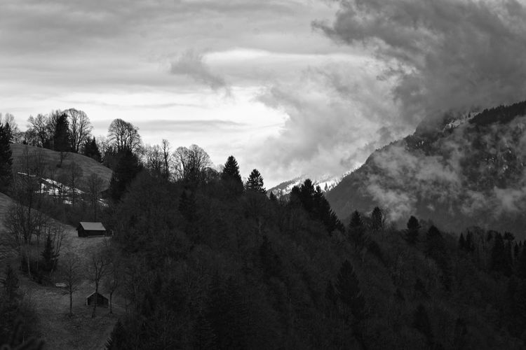 Valley with Cabine Mountain Sky Nature Mountains Berge Alpen Alps Bavaria Bayern Blackandwhite Black And White Monochrome Snow Winter Cold Temperature Snowcapped Mountain Mountain Peak Mountain Range Forest Trees Cloud - Sky Clouds Contrast Moody Sky Fine Art Photography