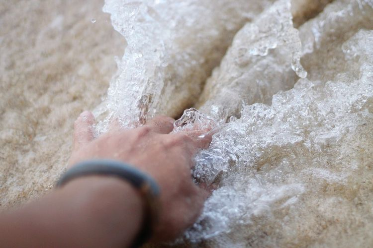 Close-Up Of Hand Touching Water