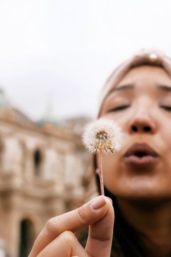 Close-up of woman blowing dandelion flower