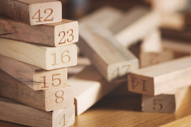 The numbers Toy Block Wood - Material Toy Focus On Foreground Number Block Block Shape No People Close-up Macro Bokeh Studio Shot