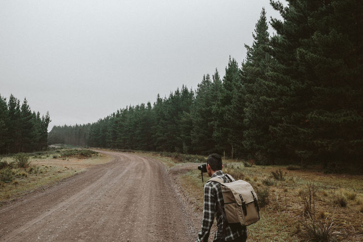 Rear View Of Man Photographing On Dirt Road In Forest