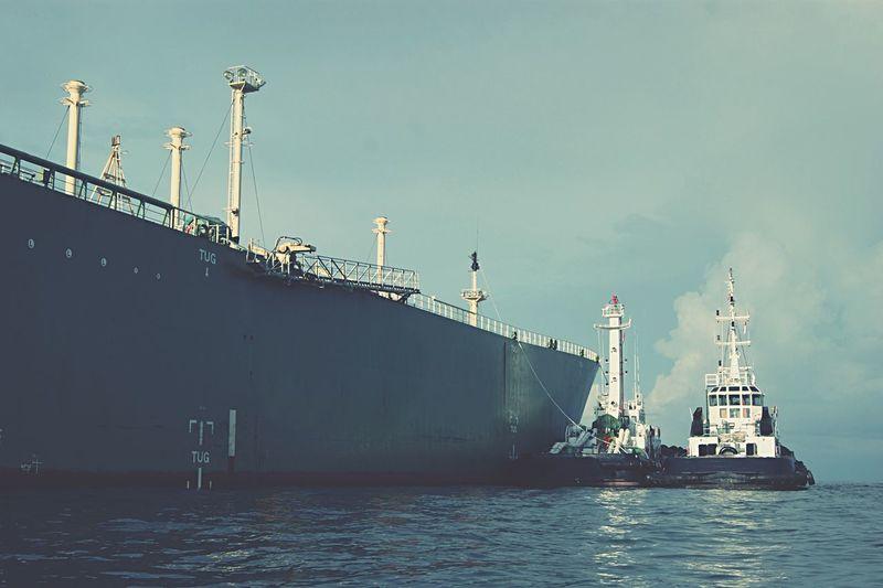 Sailing Ship On Sea Against Blue Sky