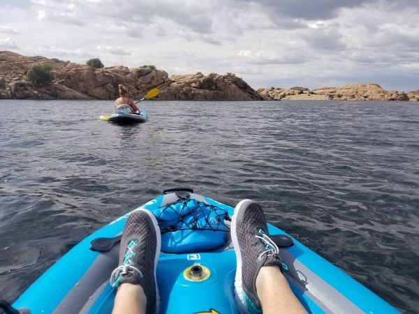 Out Of The Box Kayaking On The Lake Inflatables With My Sister <3 Adult Personal Perspective Having A Good Time Rocky Shoreline Cloud - Sky Day Only Women😁