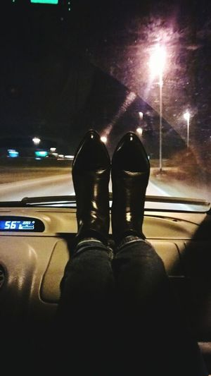 Rock And Roll Traveling On The Road Shoes Car Car Ride  Dark Road