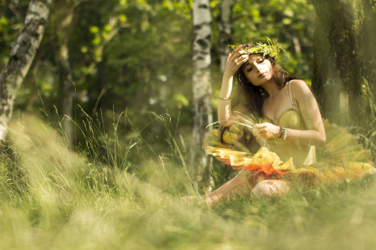 Beautiful People Beautiful Woman Beauty Beauty In Nature Fairy Fairytale  Fairytales & Dreams Field Flower Fragility Grass Grass Long Hair Nature One Person One Woman Only One Young Woman Only Outdoors Summer Sunlight Women
