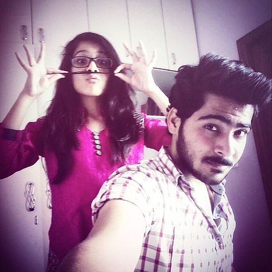 Moustaches Love 😘 Crazy Sister 😜 Selfieholic 😍 Blessed  With Her 😊
