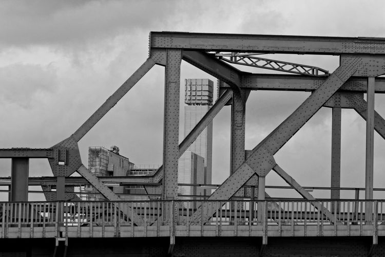 Architecture Blackandwhite Bridge Bridge - Man Made Structure Built Structure Bw_collection Bw_lover Cloud Cloud - Sky Cloudy Connection Day Engineering EyeEm Low Angle View Metal Metallic No People Outdoors Railing Sky Streetphotography Uraban