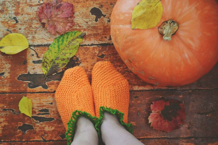 Close-up of woman wearing socks