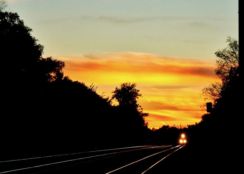 Sunset glows on the rails of a railroad track in Chicago suburbs as train approaches, headlights shining. Railroad Track Rails Reflection Sunset Glow Train Tracks Transit Travel Commute Day Headlights Journey Metra Nature No People Outdoors Railroad Silhouette Sky Sunset The Way Forward Train Train Line Tranquility Transportation Tree