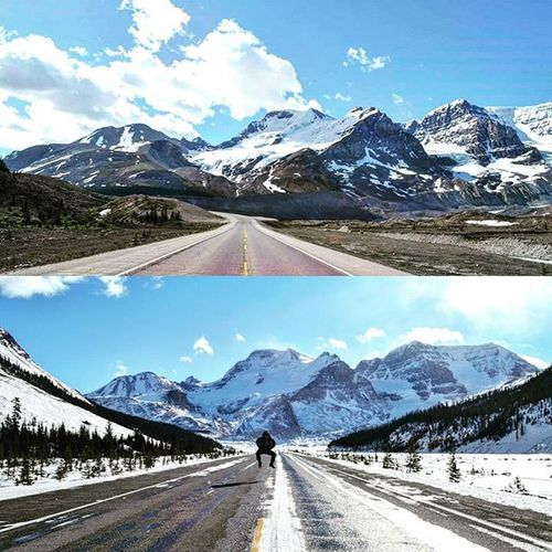 The stretch of road from Jasper to Lake Louise is punctuated by more than 100 ancient glaciers, waterfalls cascading from dramatic rock spires, and emerald lakes set in sweeping valleys. Watch for an abundance of wildlife. Sleep in a creek-side campground or local hostel. Highway 93 - The Icefields Parkway. I find this a very tough road to drive on, primarily because you are stopping every few kms to take pictures...time is never enough! Rocky Mountain Majesty - June 2015 (top) and February 2016 (bottom). Explorealberta Keepexploring Icefieldsparkway Banff  Banffnationalpark Ab Alberta Imagesofcanada Pictureoftheday Beautifulroads Canmore Jasper Mountains Montanhasrochosas Canada Lakes  Backpacking Traveling Travelcanada Tourismalberta Glacier Nature Natureporn Greatnorthcollective Tourismjasper highway93 albertaroads mountaineering mountaineers