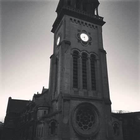 France Montreuil  Monochrome Church Twillight Clock Tower Clock Huaweiphotography Huawei P9.