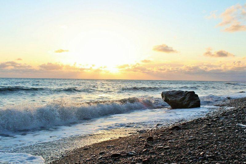 Beach Black Sea Blacksea Nature Relaxation Relaxing Moments Rock Rock In The Sea Sea Sky Sun Sunset Water Waves волны Море отдых пляж Черное море