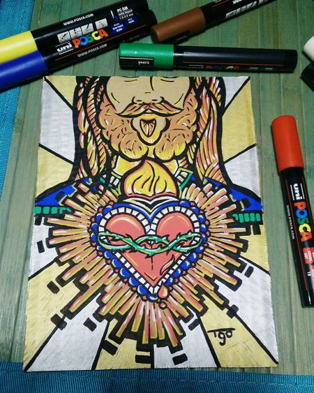 Sagrado coração de Jesus, para minha irmã. By me and posca. Sacred Heart Jesus Posca Poscaoficial Poscamarkers Drawing Brazil Heart ❤ Paperboard
