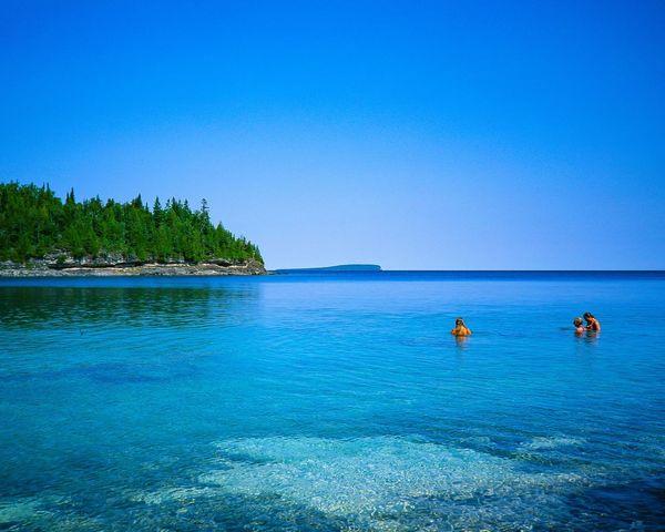 Swimming in Lake Huron. Unedited Film Velvia Olympus XA Edge Of The World Landscape Natural Light Brucepeninsula Virgin