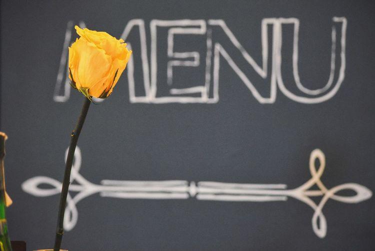 Close-up of yellow rose against menu