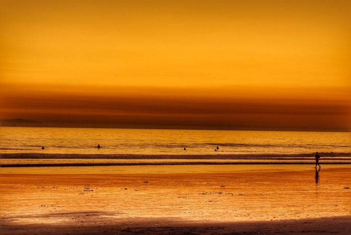 Atmospheric Mood Beach Coastline EyeEm Nature Lover Hello World Horizon Over Water Life Is A Beach Majestic Nature Ocean Reflection Sand Sea Shore Silhouette Sunset Sunset Silhouettes Taking Photos Tranquil Scene Tranquility Water Surf's Up Huntington Beach 43 Golden Moments Color Palette