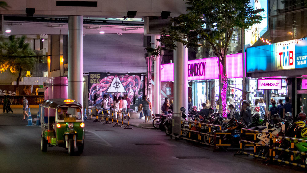 2016 Area Bangkok City Life Colorful Land Vehicle Leisure Activity Lifestyles Lighting Night Parking Lot People Place Real People Road Shop Shopping ♡ Siam Square Sign Street Street Photography Teen Transportation Tuk Tuk Walking