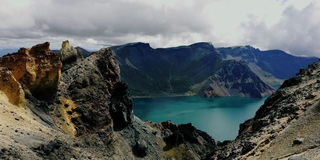 Heaven Lake on the Mt. Changbai Water Mountain Lake Tree Hot Spring Storm Cloud Rock - Object Wilderness Hiking Sky Volcanic Landscape Geology Physical Geography Volcanic Rock Lava Big Island - Hawaii Islands My Best Travel Photo