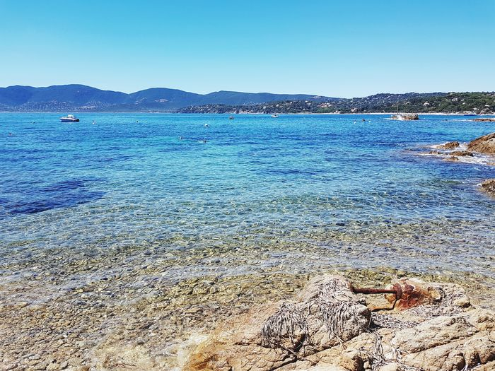Blue Blue Blue ! Beach Sea Sand Clear Sky No People Nature Blue Sea And Blue Sky Enjoying Nature Quiet Place  Meditteranean Sea Blue Horizon Over Water Beauty In Nature Clear Blue Water Limpidity Summertime South Of France Lost In The Landscape