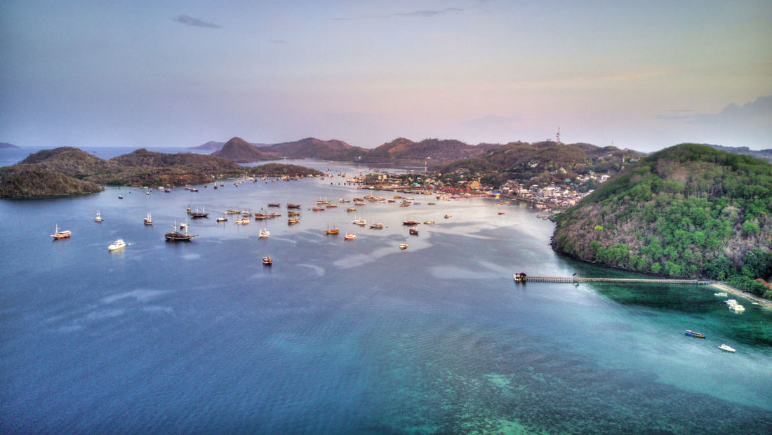 Labuan Bajo, Flores, Indonesia. Labuanbajo Labuan Bajo Flores INDONESIA Water Sea Scenics - Nature Sky Nature Beauty In Nature Waterfront No People Day Transportation Tranquility Nautical Vessel High Angle View Tranquil Scene Outdoors