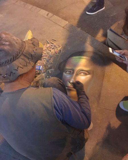 Art Drawing Draw Artist Like Beautiful Monalisa City Night One Person Chalk Chalk Art