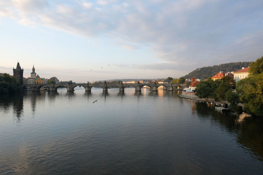 view on the famous charles bridge in prague Autumn colors Classic Architecture Czech Republic Historical Building My Best Travel Photo Prague Prague Czech Republic Sightseeing Arch Bridge Architecture Bridge Bridge - Man Made Structure Building Building Exterior Built Structure Charlesbridge City Cloud - Sky Connection Nature No People Outdoors Prague Old Town Reflection River Sky Transportation Travel Destination Travel Destinations Water Waterfront
