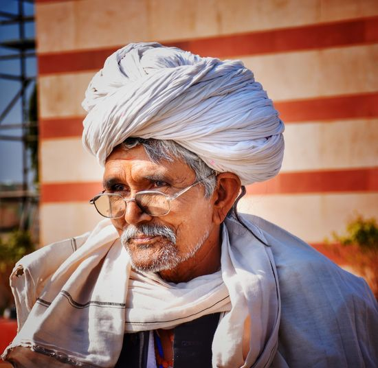 Man wearing turban outdoors