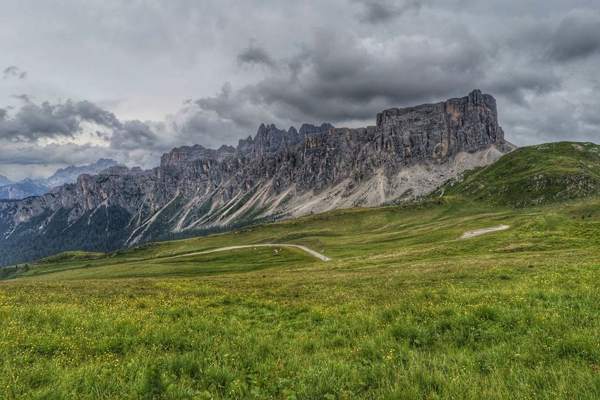 Grass Nature No People Day Mountain Sky Italy Passo Giau Dolomites Clouds Peak Field Valley Alps Physical Geography Outdoors Mountain Range Landscape HDR