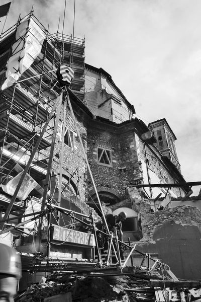 Earthquake buildings Abruzzo L'Aquila Rubble Wall Ruins Scaffolding Architecture Black And White Blackandwhite Building Exterior Buildings Built Structure Earthquake Earthquake In Italy Earthquake L'aquila Italy Low Angle View No People Outdoors Rubble Ruined Building Ruins Architecture Sky