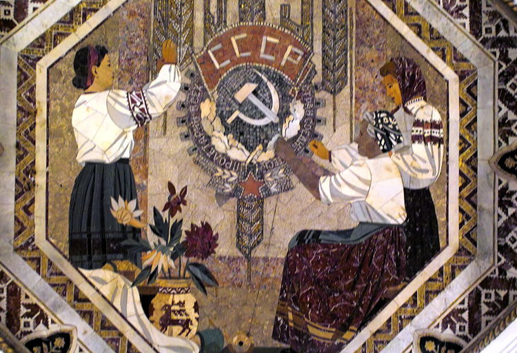 Soviet Art in the Moscow Underground Architecture Art And Craft Building Exterior City Close-up Day Fresco Hammer And Sickle Mosaic Art Moscow Underground No People Outdoors Painted Image Travel Destinations USSR,